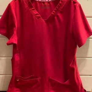 Red scrub top